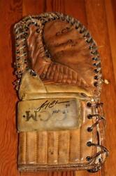 Vintage 1960and039s Ccm Pro Model Goalie Glove Trapper Signed Bruins Gerry Cheevers