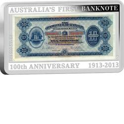 100th Anniversary Of Australia's First Banknote 1oz Silver Proof Coin And Stamp