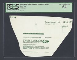 Switzerland - Swiss Bankers Travellers Cheque 500 Francs Test Proof Uncirculated