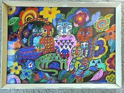 Outsider Art Crazy Cats Painting Paper Vivid Unsigned Framed Bad Art Kitsch