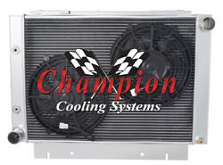 4 Row Best Cooling Champion Radiator W/ 2 10 Fans For 1960 - 1963 Ford Galaxie