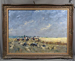 Hungarian Genre Farming People In The Field Scene Painting