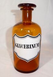 Antique Amber Apothecary Chemistand039s Glass Bottle + Stopper. Glycerinum. 1901