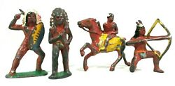 Lot Of 4 Vintage Barclay Lead Indian Figures Western Indigenous American Toys