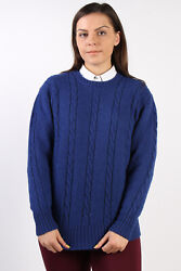 Cable Knit Jumper Casual Winter 90s Retro Warm Tops Navy M-il1367