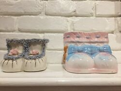 Vintage Relpo And Nancy Pew Baby Boot Planters