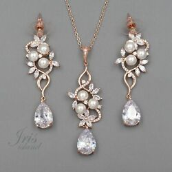 Bridal Wedding Jewelry Set Pearl Zirconia Cz Necklace Earrings Rose Gold 09612