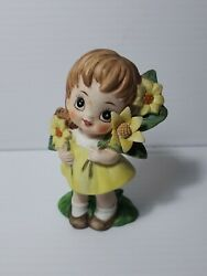 Vintage Figurine Little Girl Yellow Dress and Sunflowers