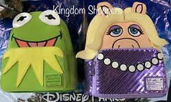 2020 NEW Loungefly Disney Parks Kermit The Frog & Miss Piggy Mini Backpack Set