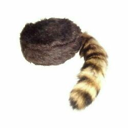 Racoon Hat Adult Youth Davy Crocket Daniel Boon Coonskin Cap Coon Tail