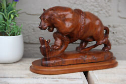 Rare Japanese Hand Wood Carved Bear Snake Fight Statue