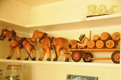 1930s Antique Wood Pull Toy Wurzburger Hofbrau Beer Horse Drawn Wagon With Kegs