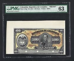Colombia Face 100 Peso Nd1910 P318p Specimen Proof Uncirculated