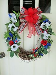 Sale Patriotic Front Door Grapevine Wreath Red White Blue Floral Stars And Stripe