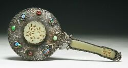 A Chinese Antique Export Jade And Jeweled Silver Mirror