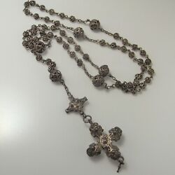 Antique Silver Rosary Circa 1800 Filigree Lace 800 European Beads Necklace