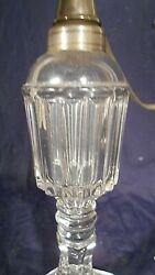 Antique Ribbed Clear Glass Whale Oil Lamp