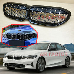 W/camera Hole Fits Bmw 3-series G20 Diamond Type Gloss Black Front Grill 2019
