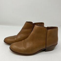 Sam Edelman Petty $130 Women's Size 6 Ankle Booties Boots Side Zip Brown Leather