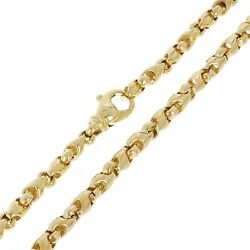 Men's Solid 14k Yellow Gold Handmade Fashion Link Necklace 4.8mm 20-30