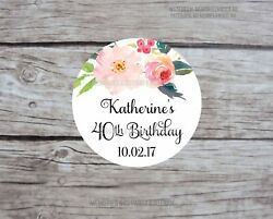 24+ Birthday Personalised Stickers Pink Flowers Bridal Shower Engagement