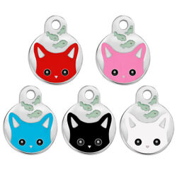 100pcs Pet Dog Cat Tags Cute Cat Face Cat Tags Disc Engraved With Name Phone