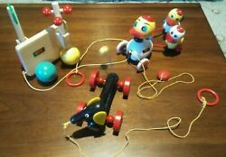 3 Vintage Brio Wooden Pull Toys Dashound Ducks And Abstract Spinner