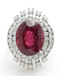 13.85 Carat Natural Tourmaline And Diamonds In 14k Solid White Gold Ring
