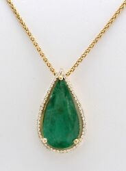 8.17 Carat Natural Zambian Emerald And Diamond In 14k Solid Yellow Gold Pendant