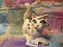 1Galen Wonderful White WhimsiClay Cat Big Blue eyes amp; 24K whiskers USA made