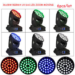 Us 36x18w Rgbwa Uv 6in1 Led Zoom Moving Head Light Powercon In/out Dj Stage 6pcs