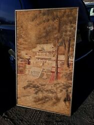 Large Antique Japanese Silk Embroidery Tapestry Meiji Period Temple