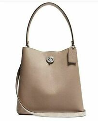 🌺🌹Coach Charlie Bucket 21 Leather Crossbody Sand taupe Silver $310.00