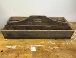 Large Antique Primitive Old Wooden Handled Tool Box Carrier Tote Tray Farm House