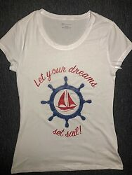 Let Your Dreams Set Sail Rhinestones Steering Wheel Woman T-Shirt S-XXL