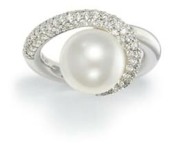 L-s 18 K White Gold Gubelin Ring With 11.5 Mm South Sea Pearl And 1 Ct T.w.dia