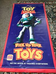 Ultra Rare Vintage Advertisement 1995 Toy Story Movie Burger King Banner 70x36