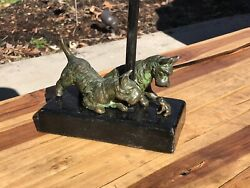 Antique Bronze Two Kirmse Terrier With Frog Lamp With 1930 Country Life Art