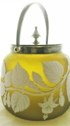 Rare Victorian Thomas Webb Cameo Glass Biscuit Barrel