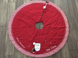 Pottery Barn Kids Quilted Red Santa Tree Skirt The Carrs Merry Christmas New