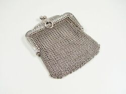 Fine French Solid Silver Fuschias And Leaves Mesh Chatelaine Purse / Bag