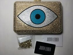 New With Tags Judith Leiber Couture Evil Eye Slim Slide Clutch
