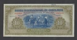 Costa Rica 10 Colones Nd1932-35 P181s Specimen About Uncirculated