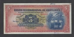Costa Rica 5 Colones Nd1931-36 P180s Specimen About Uncirculated