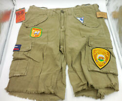 Cult of Individuality Men's Tyler Cargo Shorts Patches Light Green Beige 34