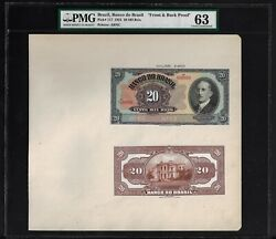 Brazil Face And Back 20 Mil Reis Nov 1923 P117p Proof Uncirculated