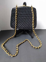AMANDA SMITH EVENING CROSSBODY BAG PURSE QUILTED GOLD TONE CHAIN PATENT $15.99