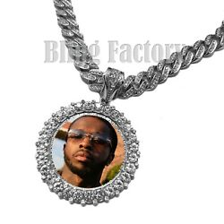 Hip Hop Silver Pt Picture Frame Pendant And 18 20 24 Iced Cuban Chain Necklace