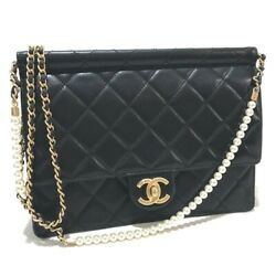 UNUSED CHANEL Costume pearl CC Matelasse Shoulder Bag Black Lambskin AS0583