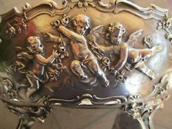Vintage German 930 Sterling Silver And Cherubs Repousse Footed Oval Centerpiece